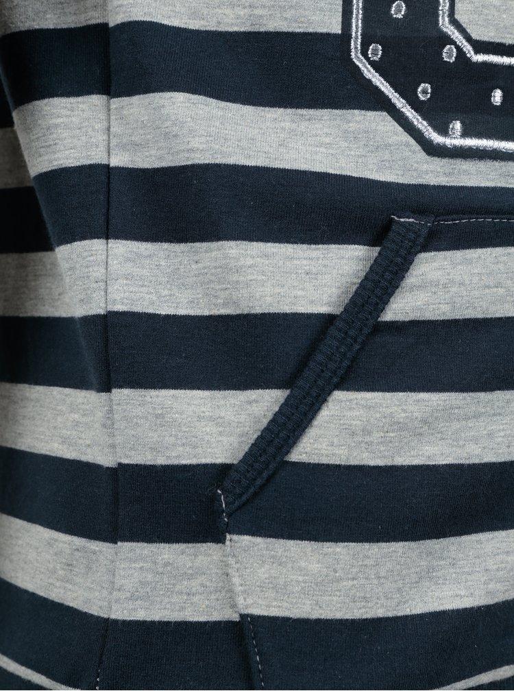 Šedo-modrá klučičí pruhovaná mikina na zip name it Kayanne