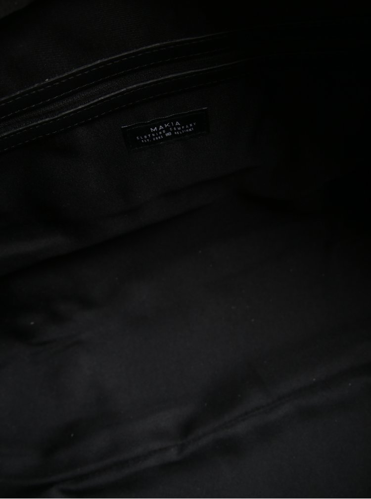 Geanta de voiaj neagra cu etalii din piele Makia Weekend