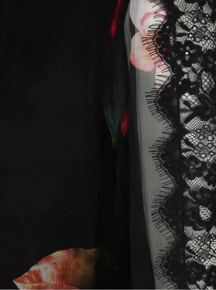 Černá květovaná halenka s průsvitnými rukávy NISSA