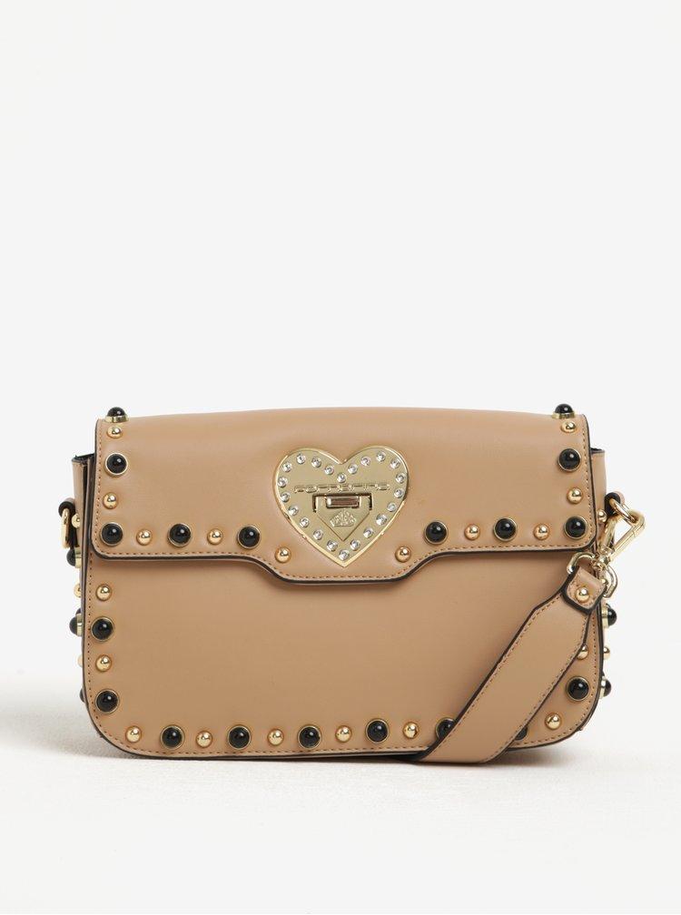 Béžová crossbody kabelka s detaily ve zlaté barvě Fornarina Violet