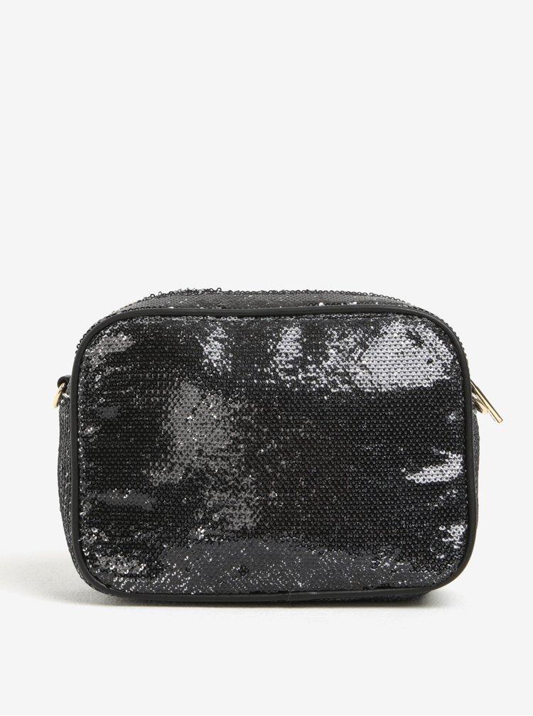 Černá crossbody kabelka s flitry a odnímatelným řetízkem Fornarina Clio