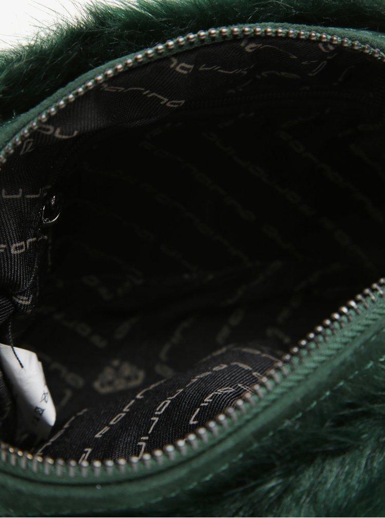 Zelená crossbody kabelka s umělou kožešinou a řetězem Fornarina Beat