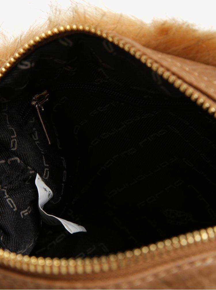 Béžová crossbody kabelka s umělou kožešinou a řetězem Fornarina Beat