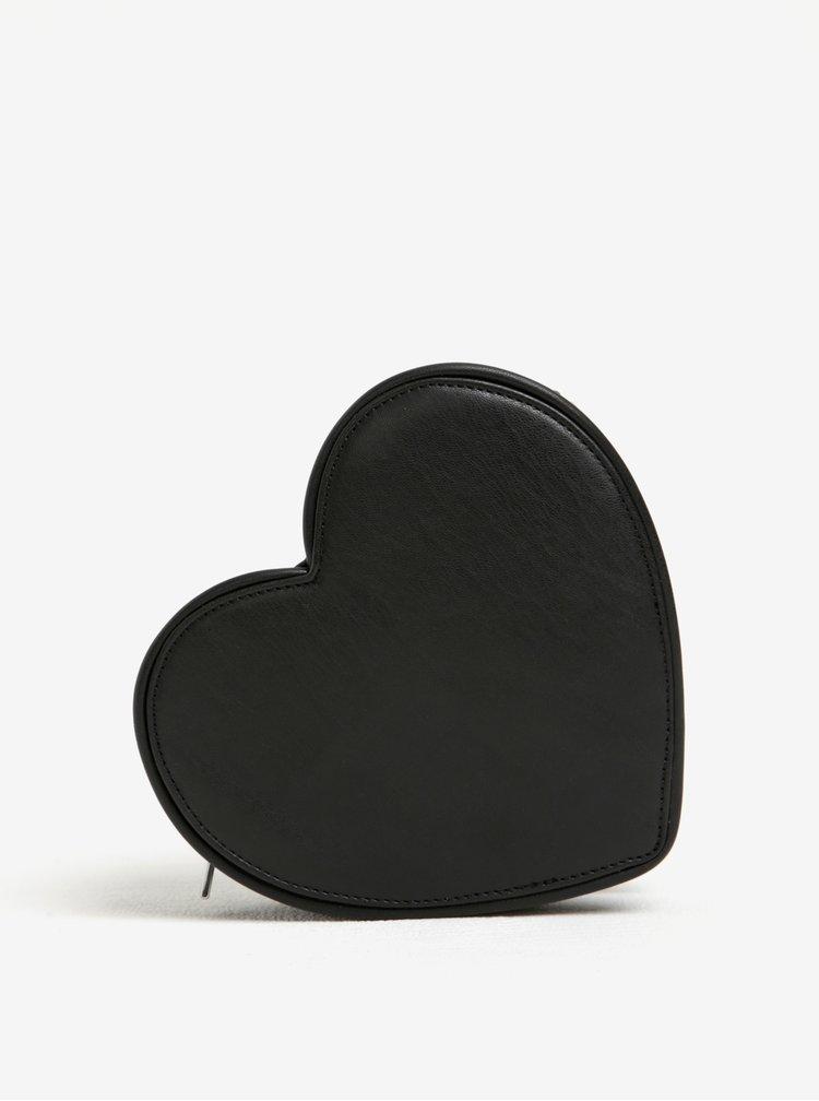 Černá crossbody kabelka ve tvaru srdce s detaily ve stříbrné barvě Fornarina Valentine