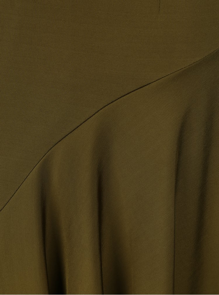 Khaki midi šaty s 3/4 rukávem NISSA