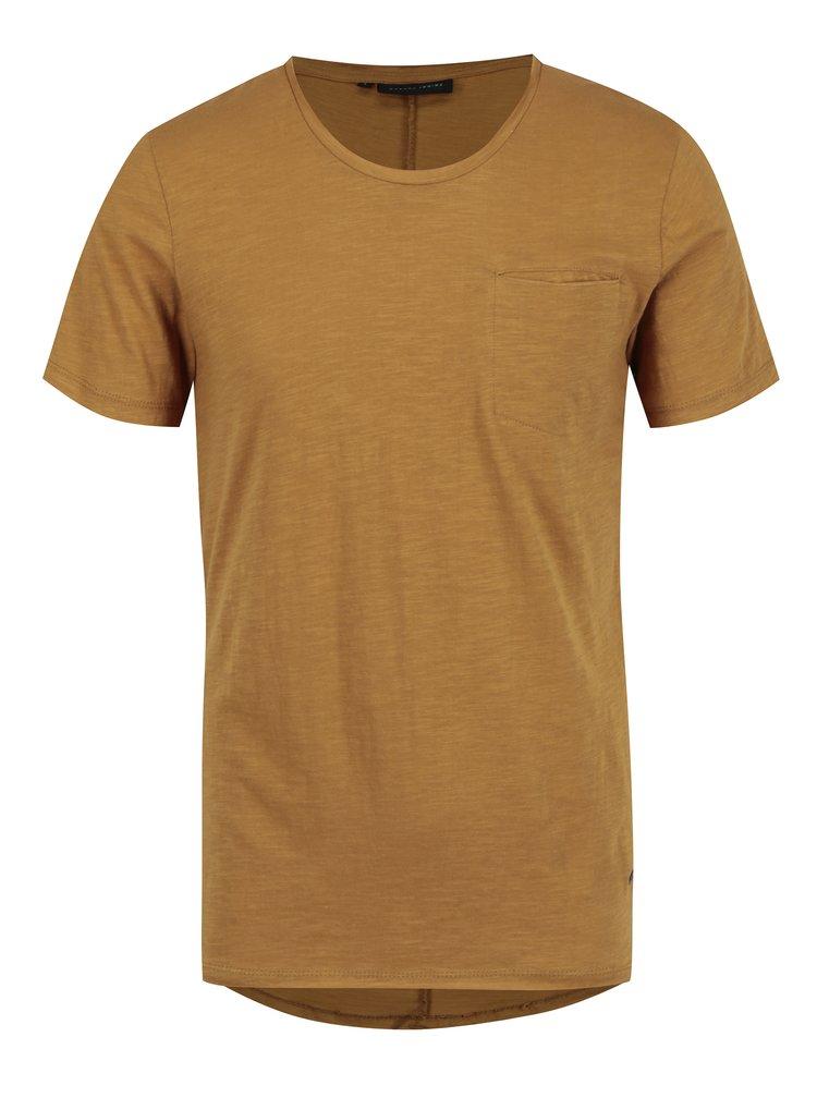 Tricou galben mustar cu buzunar Casual Friday by Blend