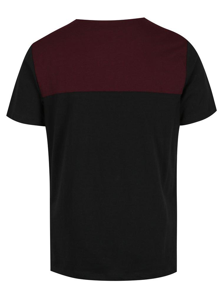 Černo-vínové tričko s náprsní kapsou Casual Friday by Blend
