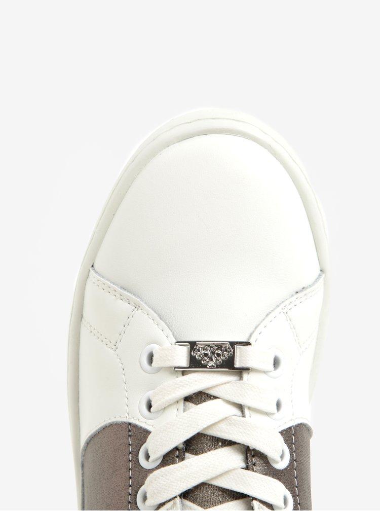 Bílé kožené tenisky se srdcem ve stříbrné barvě Fornarina Andromeda