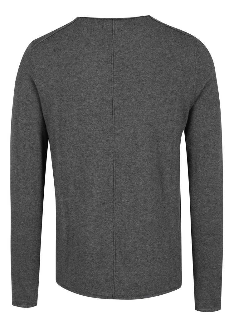 Pulover gri inchis din amestec de casmir Casual Friday by Blend