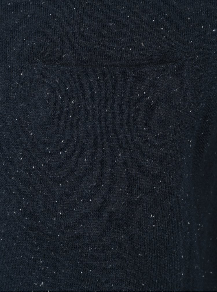 Pulover albastru inchis din amestec de casmir Casual Friday by Blend