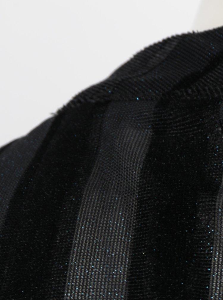 Rochie neagra cu model in dungi si volane Fornarina Olinda