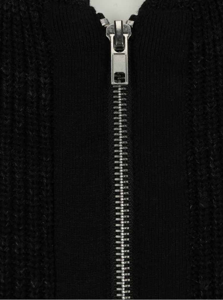 Cardigan negru melanj cu fermoar  Casual Friday by Blend