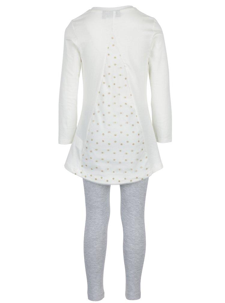 Šedo-krémový holčičí set trička s legínami Mix´n Match