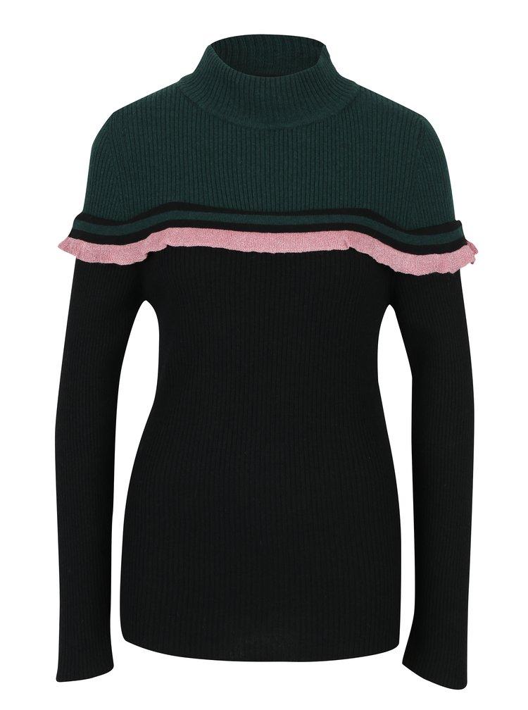 Černo-zelený lehký svetr s rolákem a volánem Fornarina Rosy
