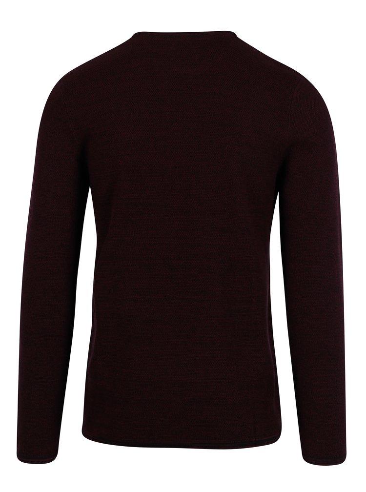 Vínový žíhaný svetr Blend
