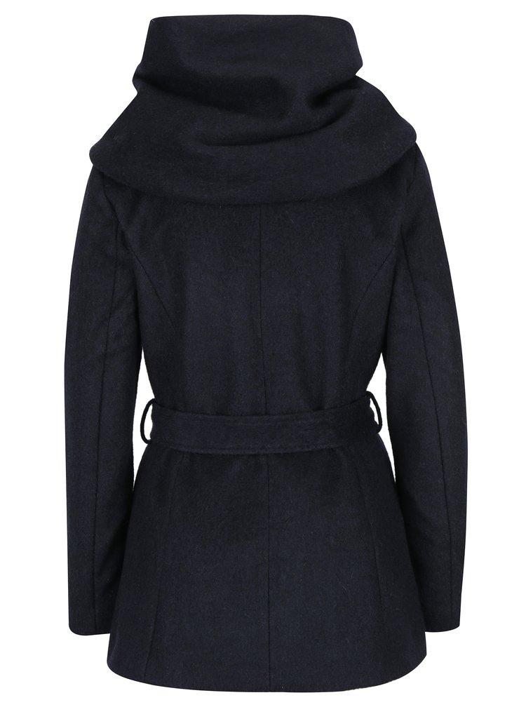Palton bleumarin din amestec de lana cu cordon si gluga ONLY Mary