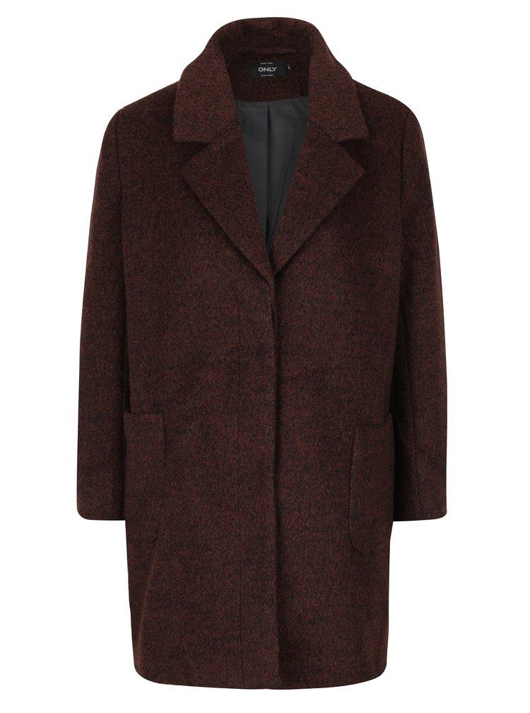 Tmavě hnědý žíhaný kabát s příměsí vlny ONLY Mary