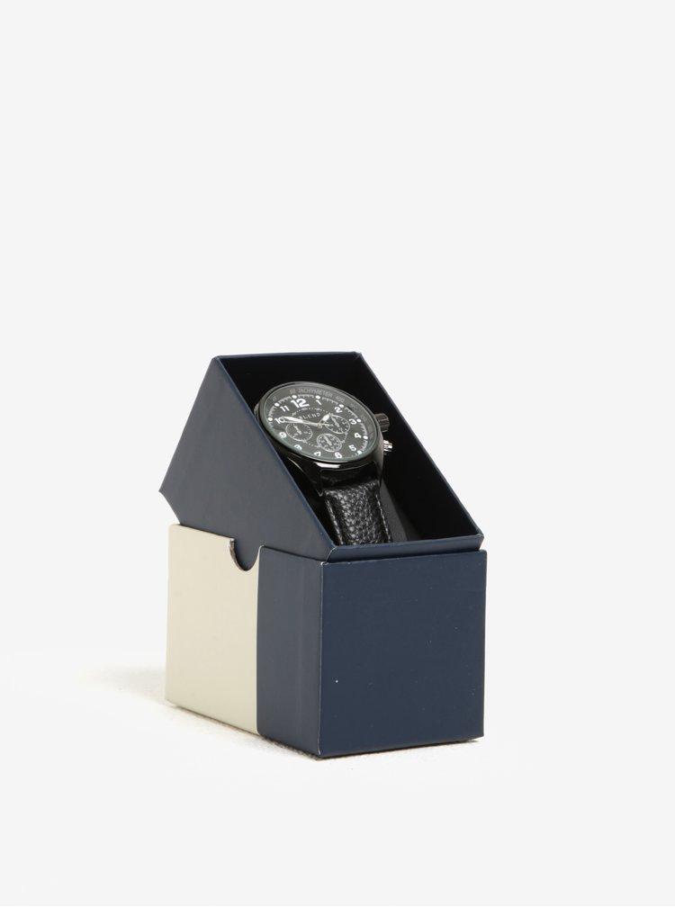 Černé hodinky s koženkovým páskem Blend