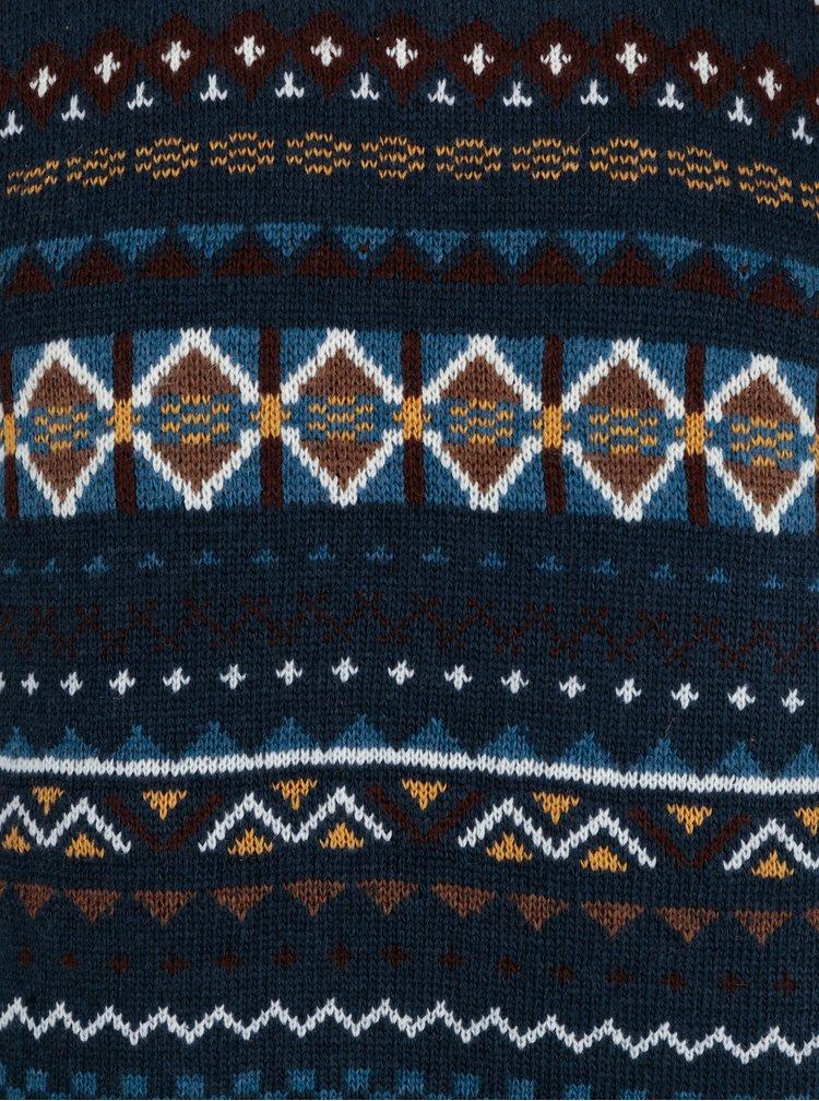 Tmavě modrý vzorovaný slim fit svetr s příměsí vlny Blend
