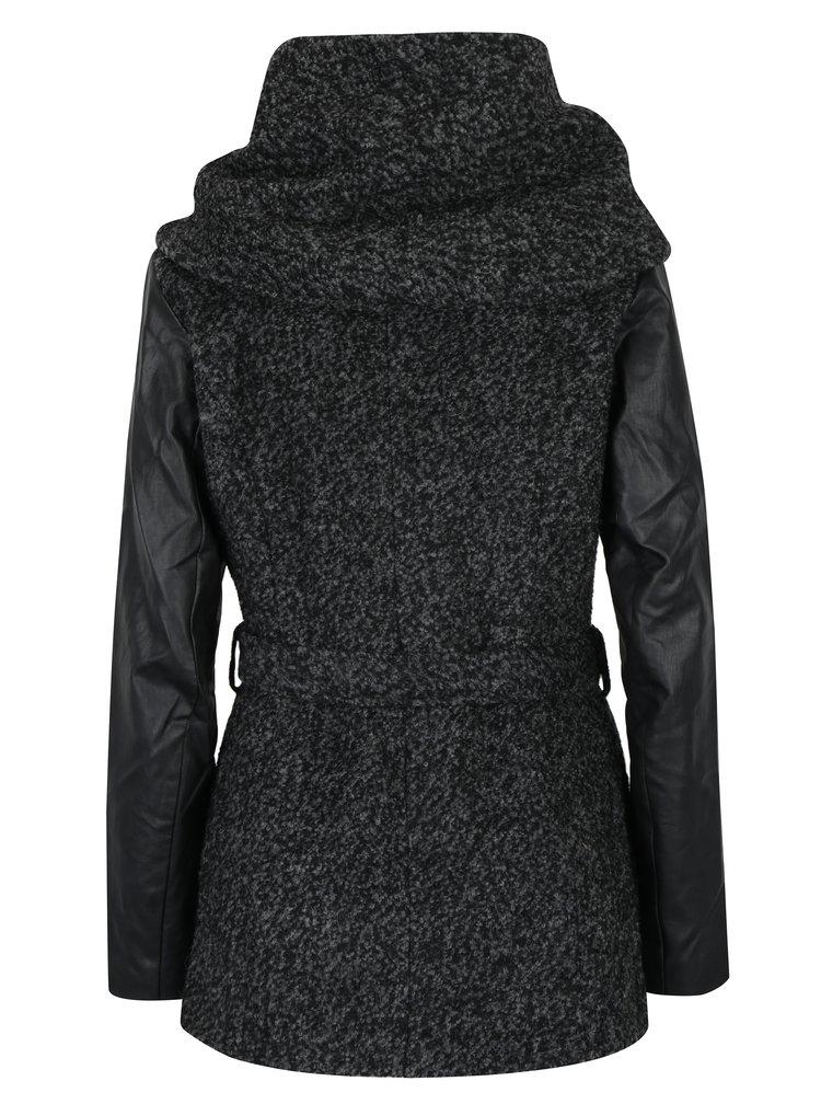 Palton gri melanj din amestec de lana cu maneci de imitatie de piele ONLY New Lisford