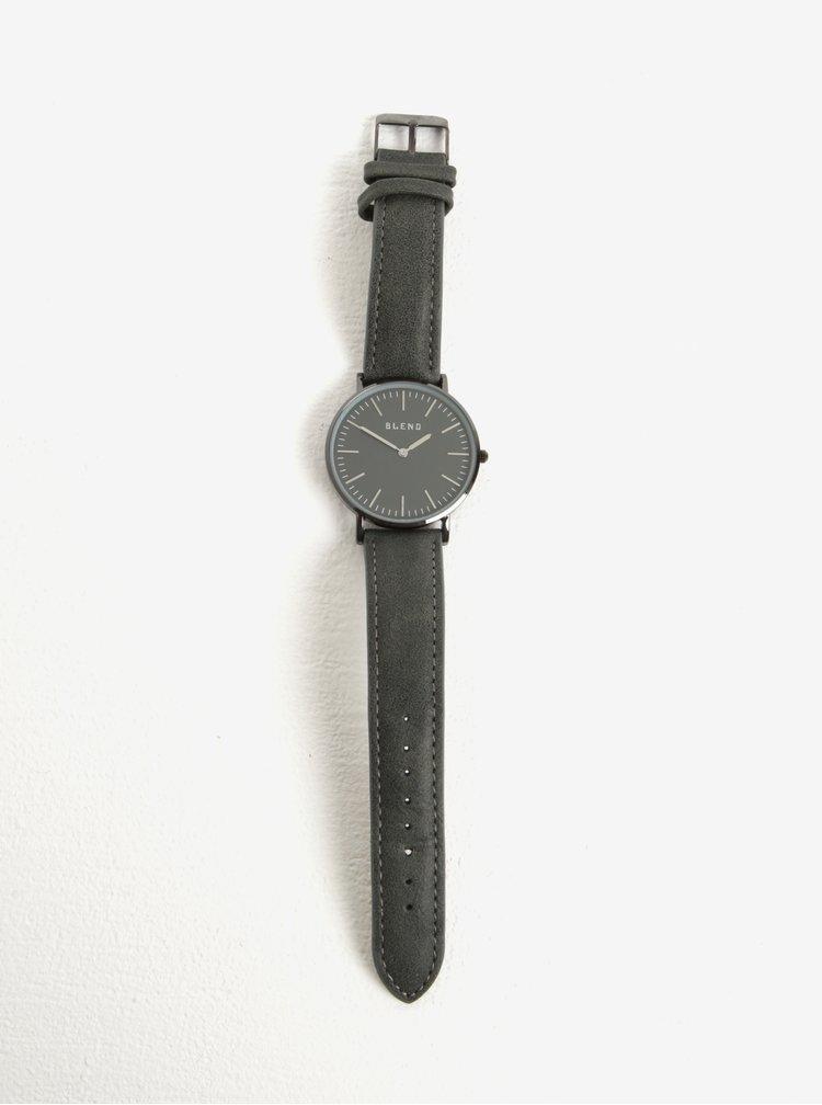 Šedé hodinky s koženkovým páskem Blend