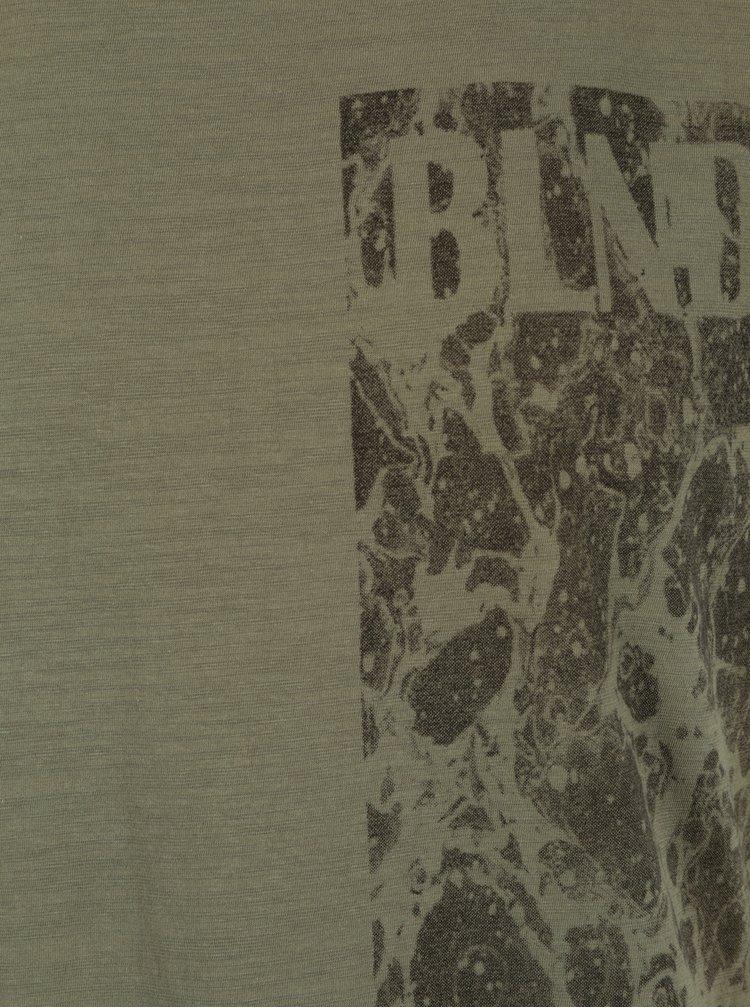 Tricou kaki slim fit cu print Blend