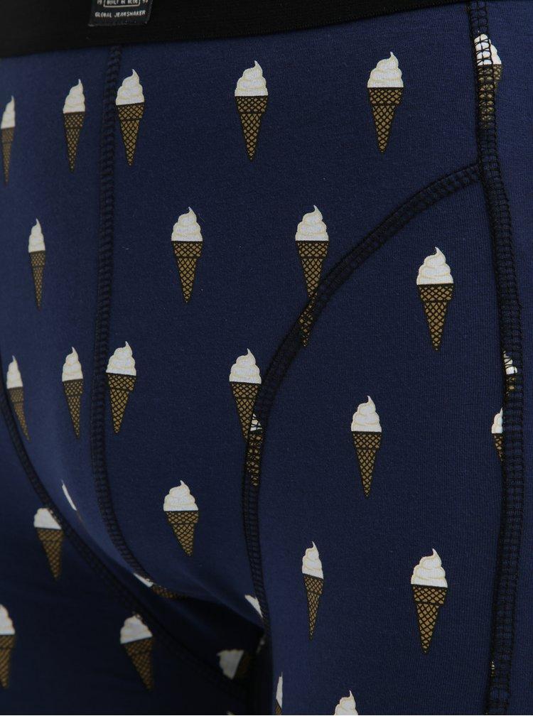 Sada dvou vzorovaných boxerek v černé a modré barvě Blend