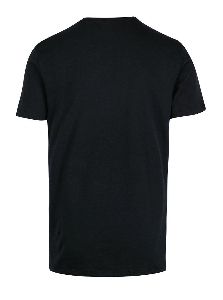 Tricou slim fit negru cu print albastru Blend