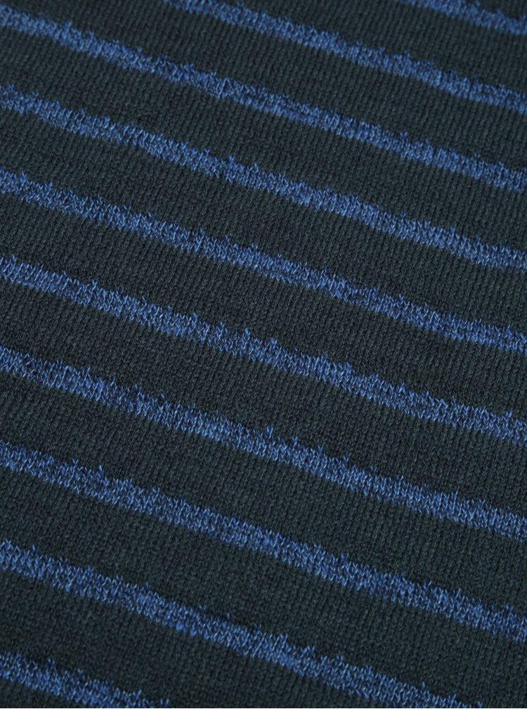 Fular tricotat cu dungi bleumarin cu verde Blend