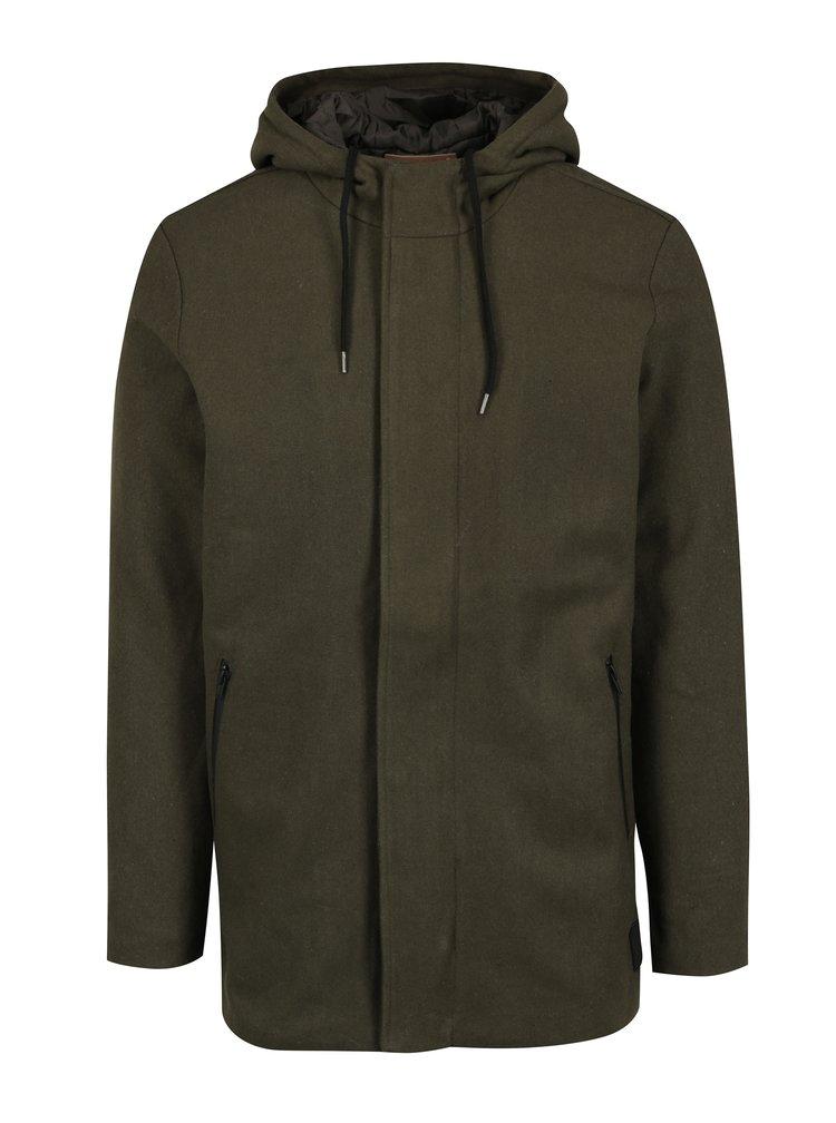 Palton verde inchis din amestec de lana cu gluga Casual Friday by Blend