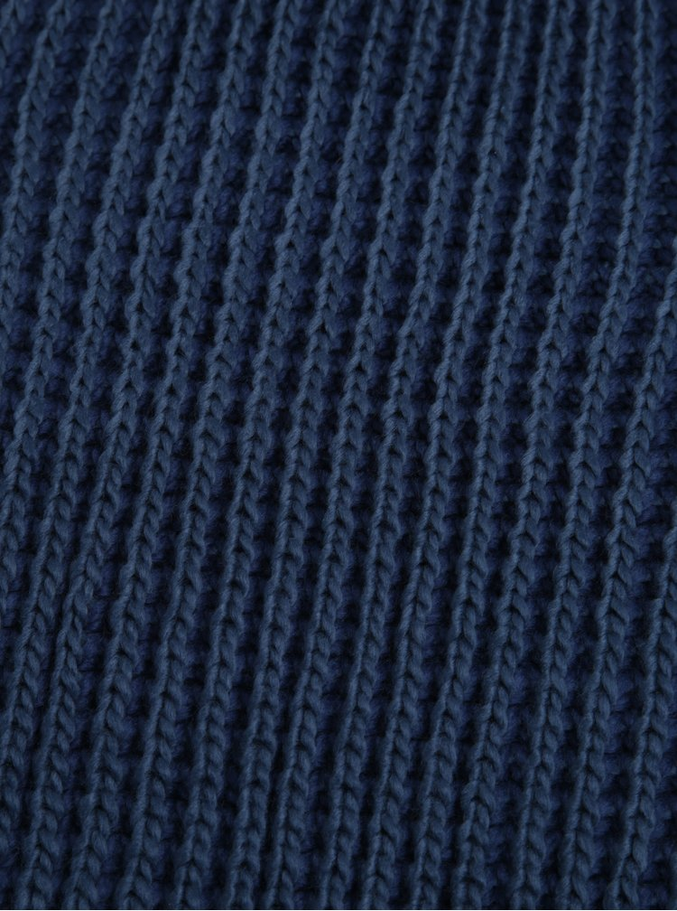 Fular circular albastru tricotat Blend