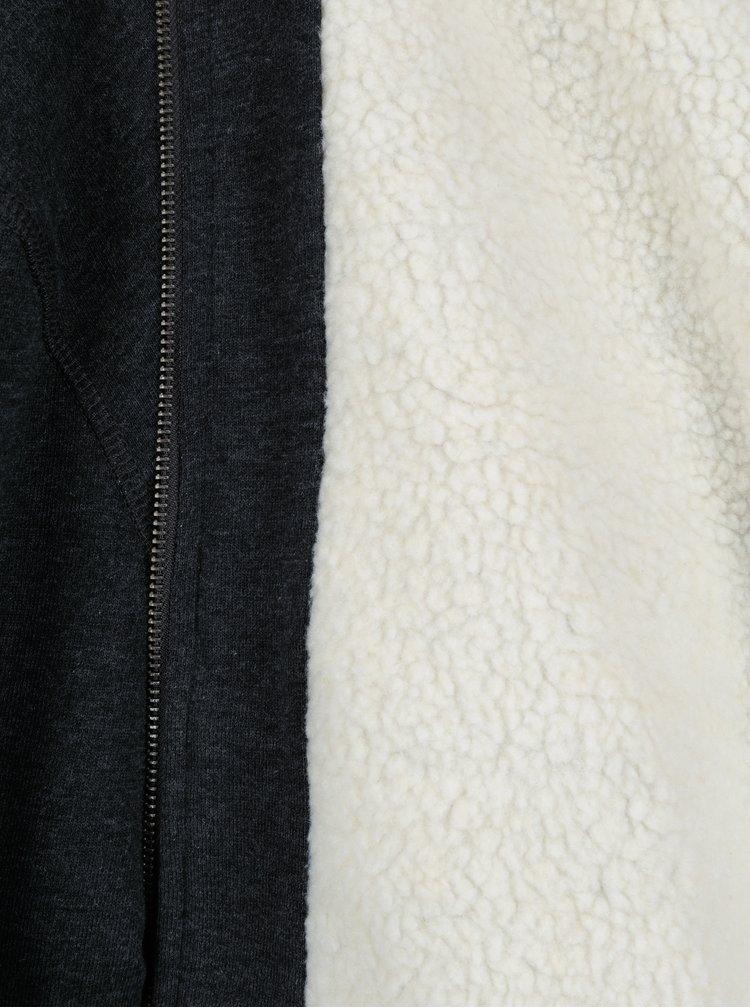 Tmavě šedá mikina s kapucí a umělým kožíškem Blend