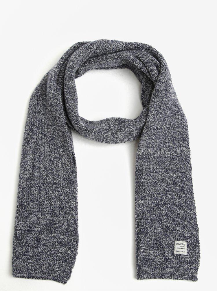 Fular tricotat bleumarin cu gri Blend