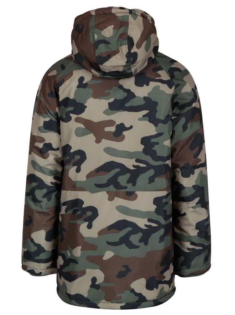 Hnědo-zelená maskáčová zimní bunda Jack & Jones Military