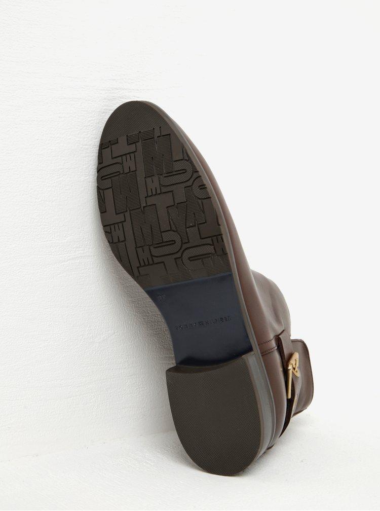 Tmavě hnědé dámské kožené kotníkové boty s přezkou Tommy Hilfiger