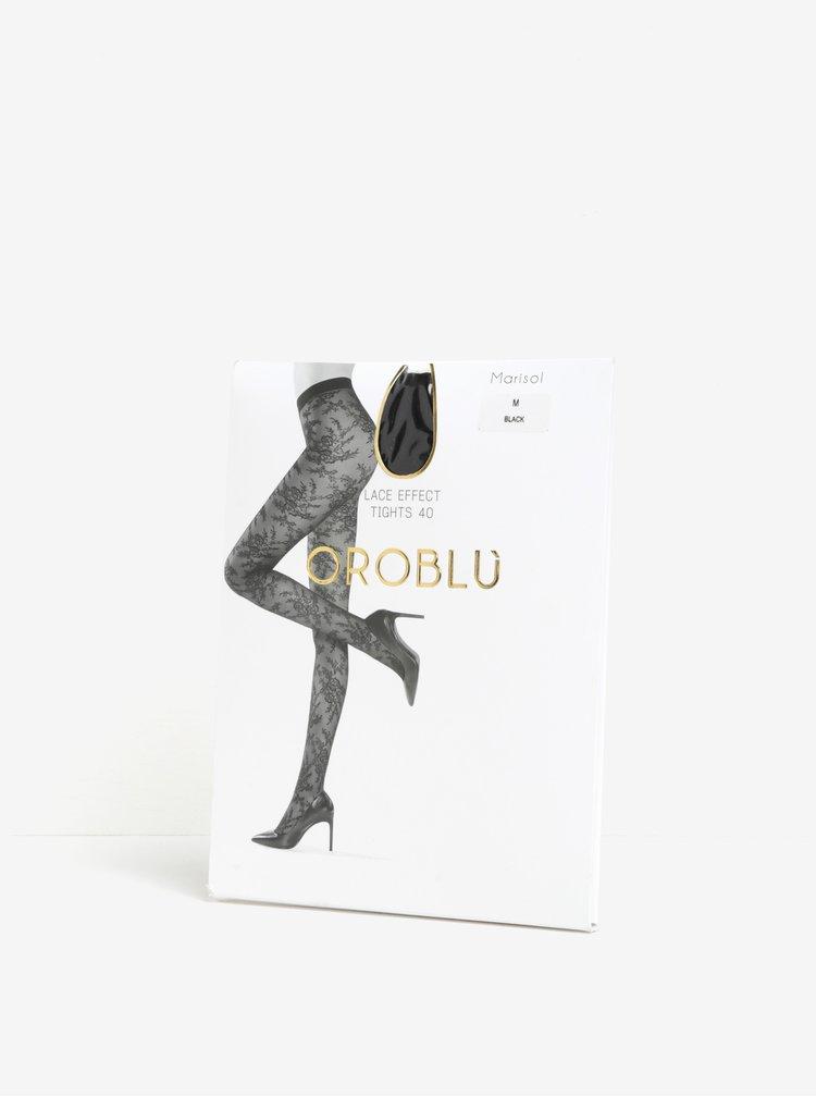 Černé vzorované punčochové kalhoty Oroblu Marisol