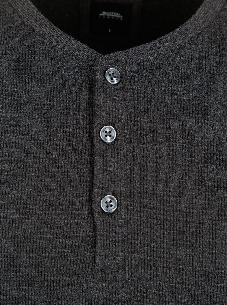 Tricou gri inchis cu nasturi - Burton Menswear London