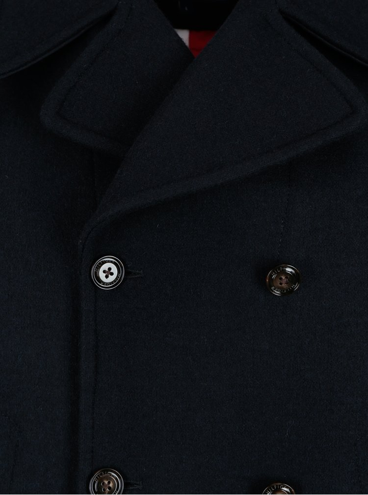 Tmavě modrý pánský krátký vlněný kabát Tommy Hilfiger Jersey