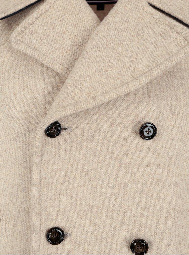 Béžový pánský krátký vlněný kabát Tommy Hilfiger Jersey