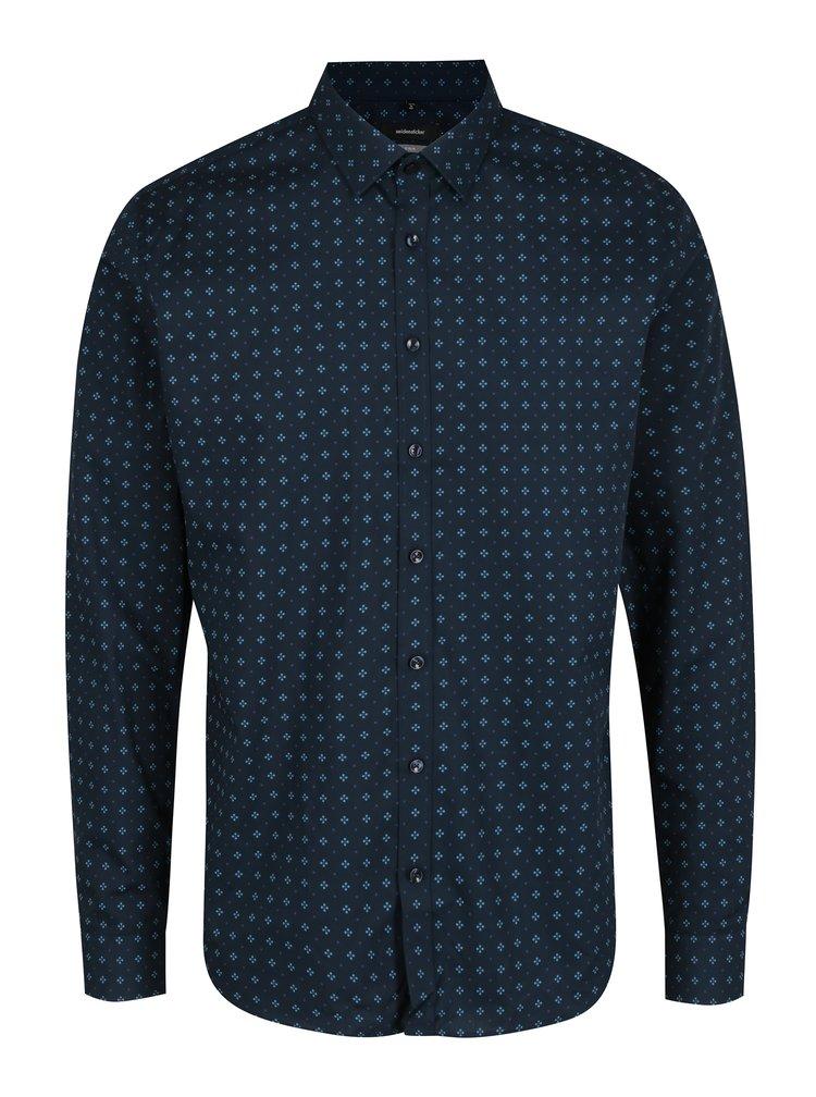 Tmavě modrá vzorovaná x-slim fit košile Seidensticker