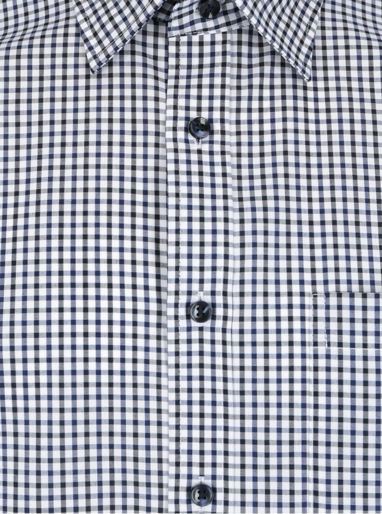 Camasa cu imprimeu pepit si buzunar la piept alb & bleumarin -  Seidensticker