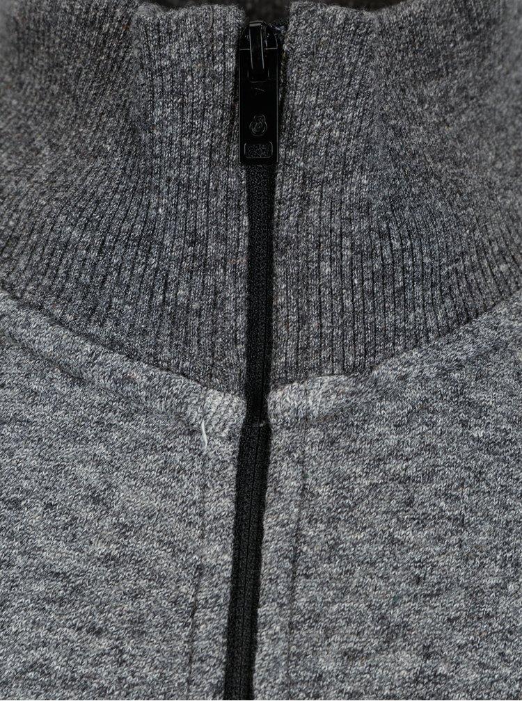 Šedá žíhaná mikina na zip Burton Menswear London