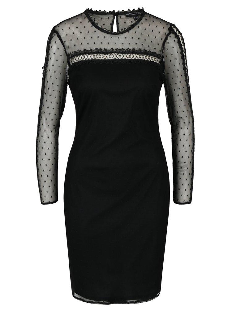 Černé šaty s průsvitným sedlem a rukávy Dorothy Perkins