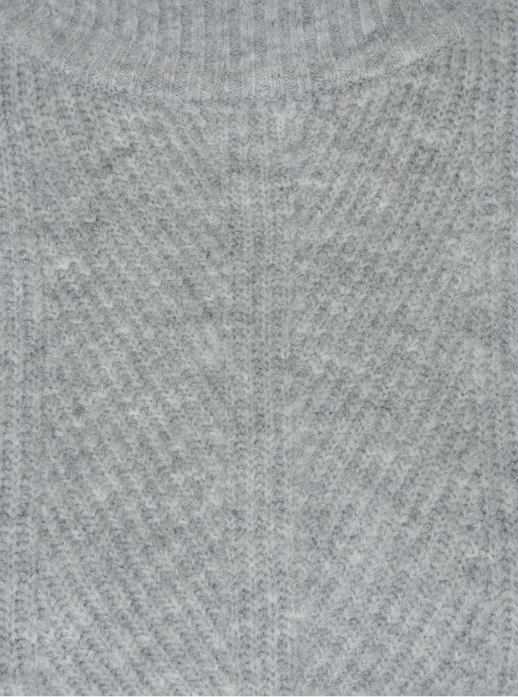 Světle šedý žebrovaný svetr Miss Selfridge Petites
