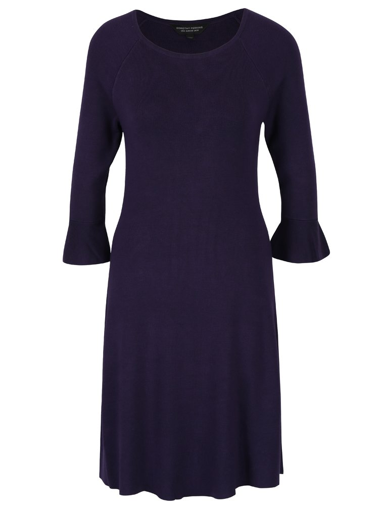 Rochie pulover violet inchis cu maneci clopot Dorothy Perkins