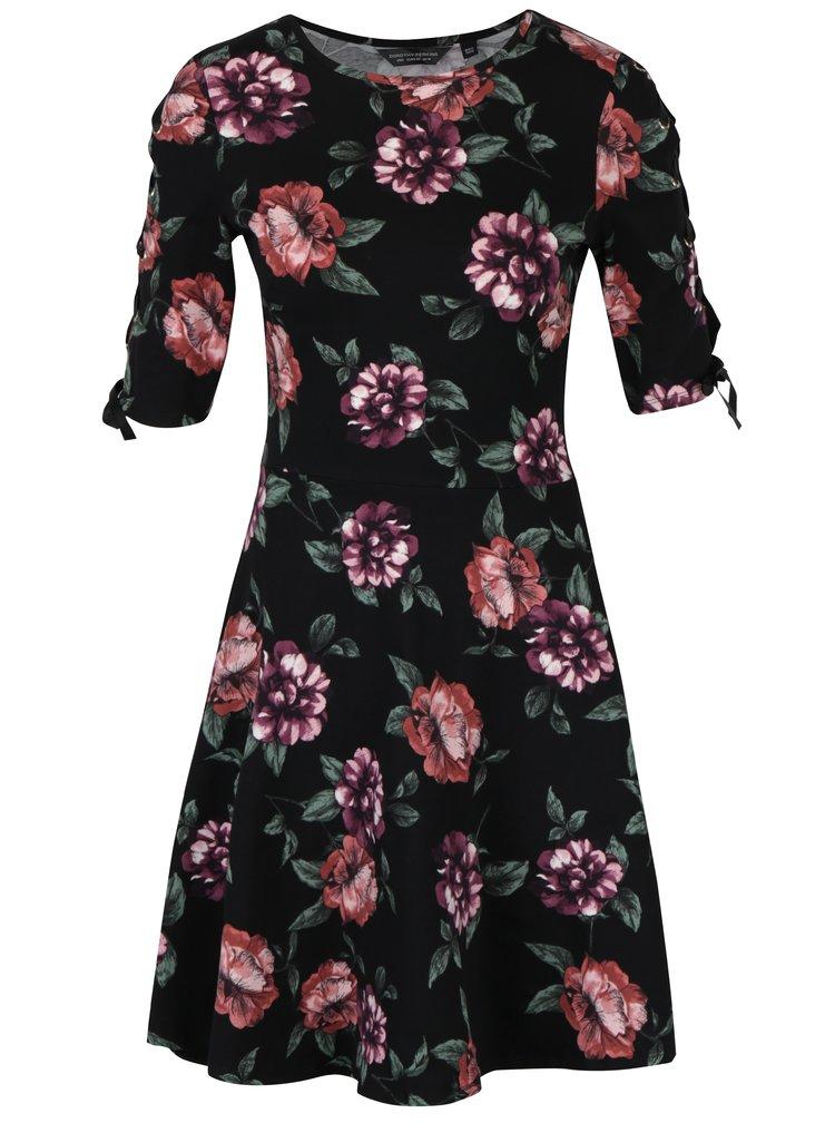 Černé květované šaty se šněrováním na rukávech Dorothy Perkins