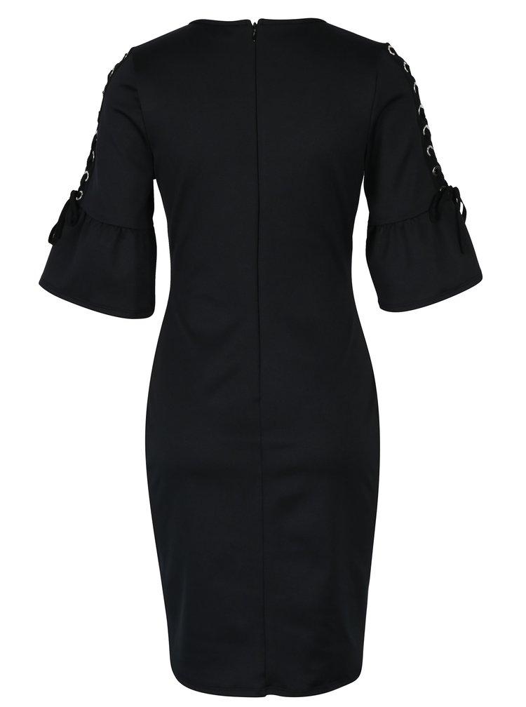 Černé šaty se zvonovými rukávy se šněrováním Dorothy Perkins
