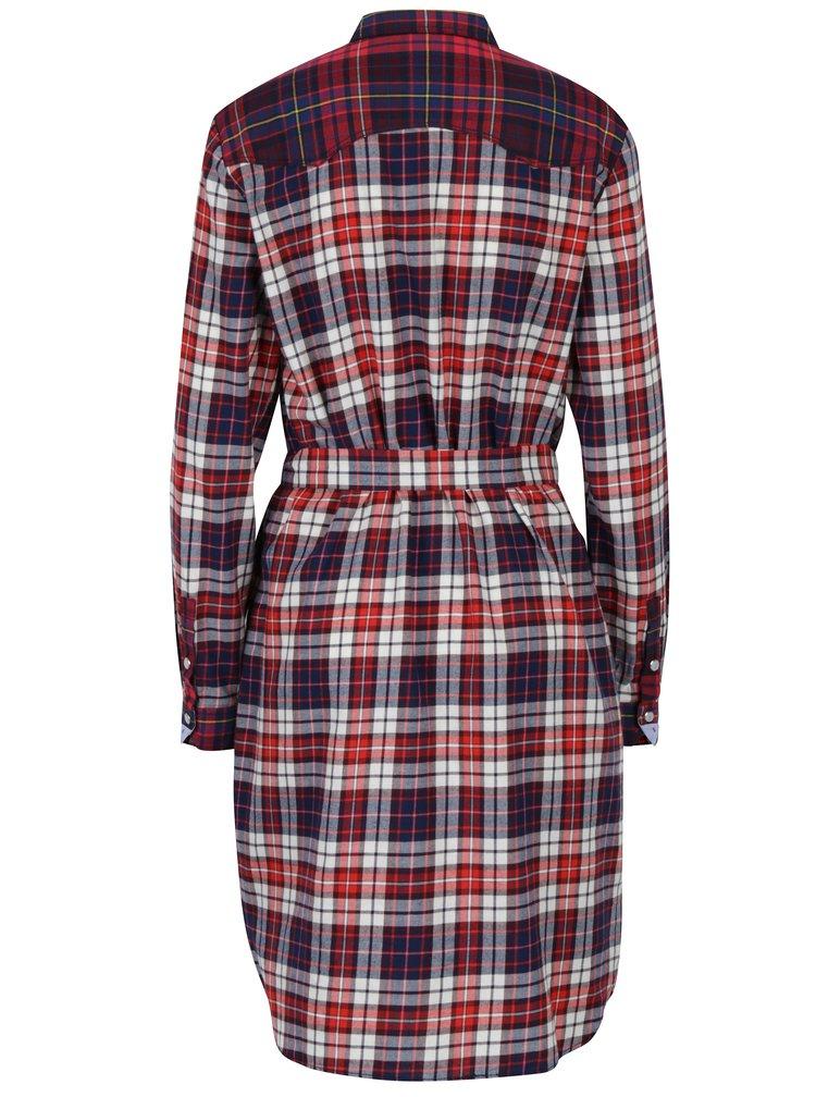 Krémovo-červené kockované košeľové šaty Tommy Hilfiger Janet
