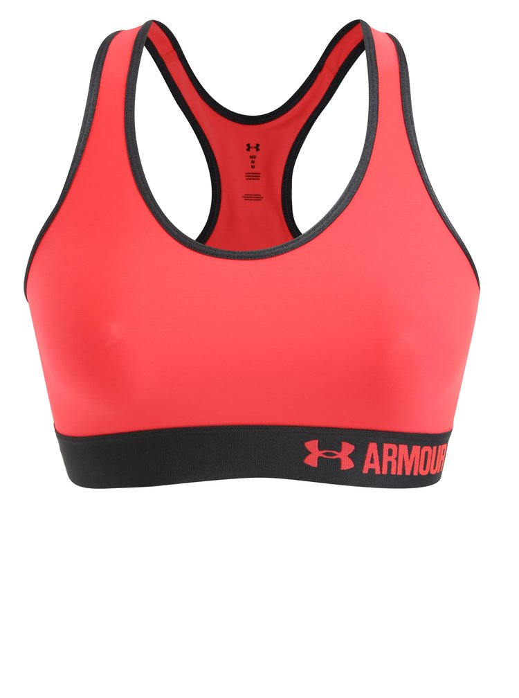 Neónovoružová športová podprsenka Under Armour Mid Solid