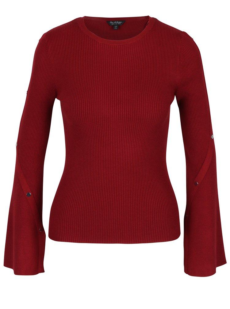 Červený žebrovaný svetr s detaily na rukávech Miss Selfridge